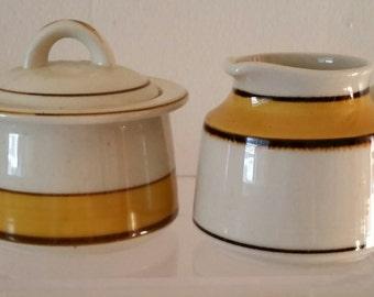 Mikasa Mandarin Gold Sugar Bowl with Lid and Creamer Mikasa Sugar Bowl and Creamer