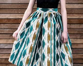 Teal High Waist Flare Pleated Structured Skirt w/ Pockets