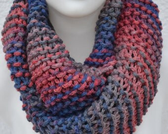 Loop snood scarf knitted blue heather for men, women and children