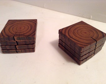 Pine 4x4 Drink Coasters (Sets of 4)