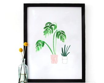 Illustrated Pot Plant Art Print