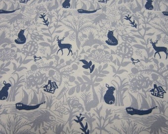 Woodland Cotton Print by Dear Stella Designs in Gray with Navy Animals