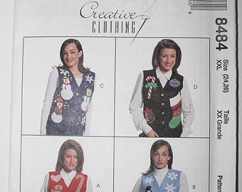 Christmas Decorative Vest Pattern,  Uncut Sewing Pattern - McCalls M8484 Size Large 16,18