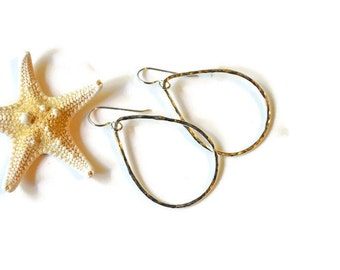Teardrop Earrings Sterling, Hammered Teardrop Earrings, Minimalist Earrings, Simple Teardrop Earrings