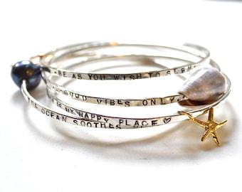 Custom sterling bracelets, hand stamped bangles, inspirational bangles, personalized bracelets