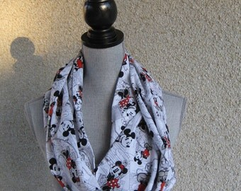 Fabric scarf, Infinity scarf, tube scarf, eternity scarf, loop scarf, long scarf, Mickey Mouse, Minnie Mouse, circle scarf, vintage Mickey,
