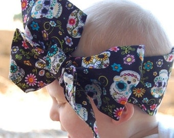 Floral sugar skull headwrap. NB to adult. Non stretch.