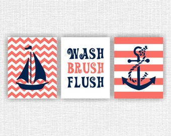 Coral and Navy Blue Girl Bathroom Nautical wall decor, Anchor, Sailboat, Wash Brush Flush, Nautical Set of 3, 8x10, INSTANT DOWNLOAD