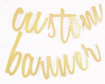 Gold Script Banner - Gold Custom Banner - Wedding Hashtag - Bachelorette Banner - Gold Glitter Script - Custom Bridal Banner - Script Banner