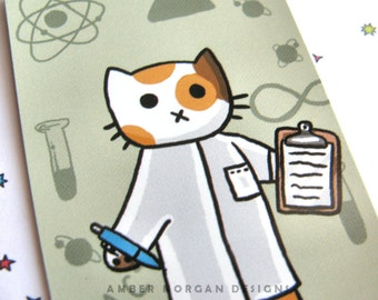 Cute Cat Magnet Scientist Cat Magnet Cute Magnet Cat Magnet Fridge Magnet Cubicle Decor Kawaii Magnet Science Kitty Clipboard Refrigerator