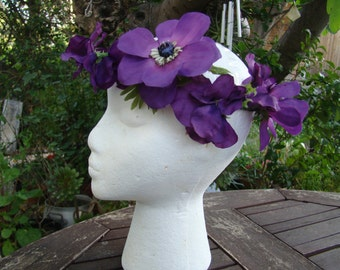 Crown of purple fabric for hair flowers