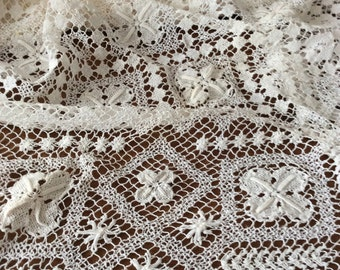 Vintage woven lace tablecloth