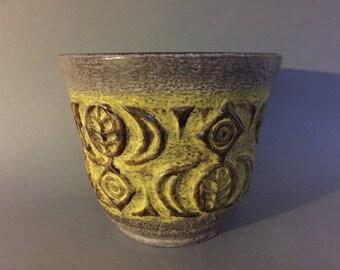 Ü-Keramik 194 - 17  / Uebelacker Ceramic planter, stunning yellow relief Vintage  1970s Mid Century  West Germany Pottery. WGP.