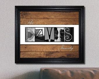 Anniversary Gift, Wedding Shower Gift, Housewarming, Alphabet Letter Art, Family Name Sign, Last Name Decor, Letter Art, Wedding Gift