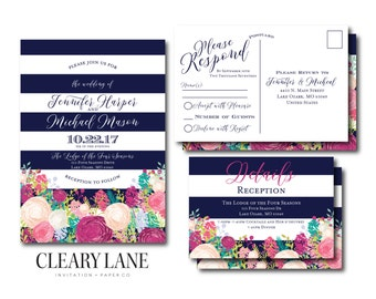 Floral Wedding Invitation, RSVP Postcard, Info Card Set - Watercolor Floral - Floral Wedding - Rustic Wedding - Printed Wedding Suite