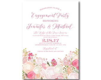 Floral Engagement Party Invitation, Country Chic, Floral Wedding, Fall Wedding, Rustic Wedding, Printed Engagement Party Invitations #CL210