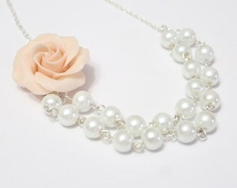 Bridesmaid Necklace with Antique Pink Rose flower Necklace Wedding White pearls Necklace floral rose necklace. Necklace wedding