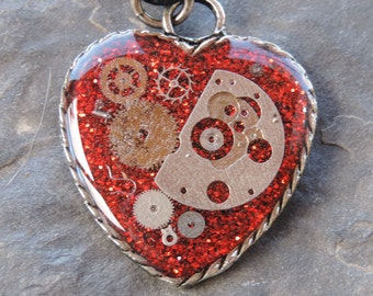 SALE! 30% off - Steampunk Heart Pendant