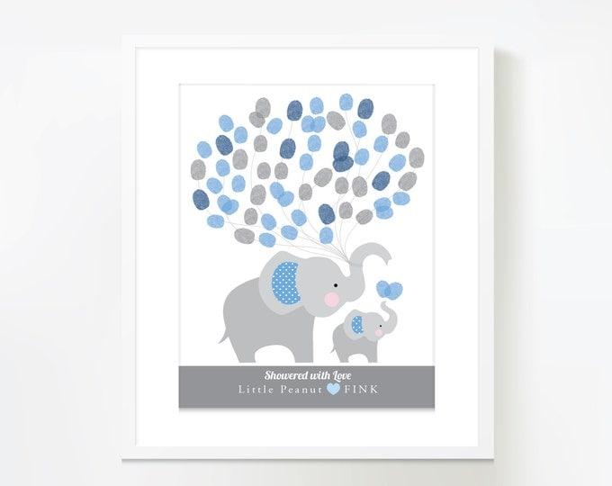 Thumbprint Balloon Wall Art - Elephant Baby Shower / Baby Shower Decor  / Guestbook Alternative Wall Art / Fingerprint balloons