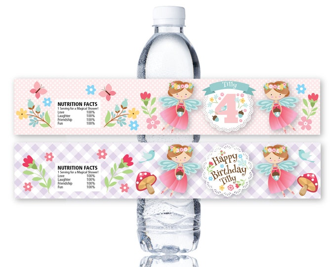 Fairy Water Bottle Label, Customized Printable DIY - woodland fairy water label - Girls Birthday Party