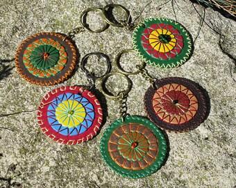 Handmade leather mandala keyrings. Bright keychains. Key fobs. Leather accessories. Boho accessories.