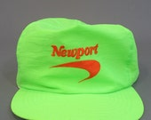 90s Newport Cigarettes Snapback Hat - Neon Snapback - Vintage Snapback - Throwback Hat - One Size Fits All