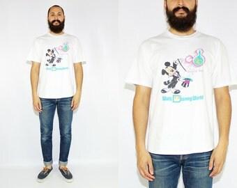 Vintage 90s Mickey Mouse Walt Disney World Tshirt Vintage Mickey Tshirt - XL