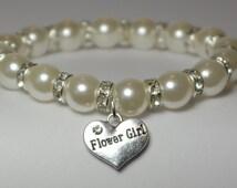 flower girl bracelet - will you be my flower girl gift - 7 1/2 INCHES AROUND - flower girl jewelry - junior bridesmaid - handmade bracelet