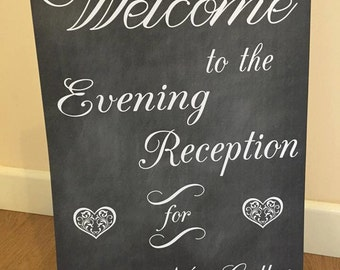 Chalk effect print Welcome Wedding evening sign. Welcome to the evening reception for......
