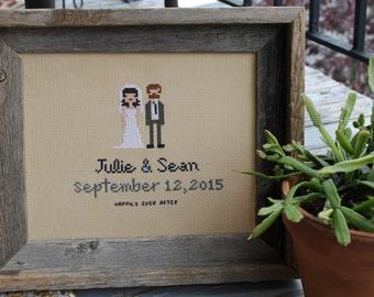 Custom Wedding Couple Cross Stitch- with frame