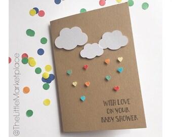 Rain & Cloud Baby Shower Card