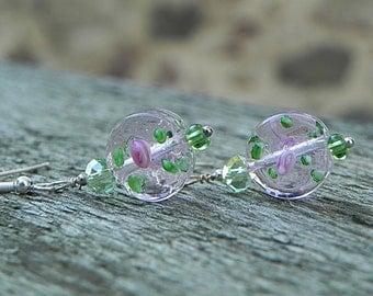 Transparent Earrings Pink Earrings Flower Earrings Lampwork Earrings Dangle Earrings Beadwork Earrings Rose Earrings Pink Floral Earrings