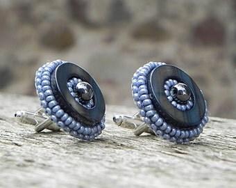 Grey Cuff Links   Grey Bead CuffLinks   Grey Glass Cufflinks   Embroidered Cufflinks   Jewelry for Men   Unique Cufflinks   Mens Cuff Links