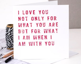 I Love You Card; Love Quote Card; Red Love Card; GC152