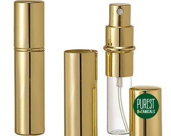 Gold Perfume Atomizer, New, Empty, Refillable Purse Spray Bottle, Holds 10ml of Perfumes