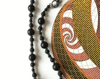 Black agate stone beaded choker
