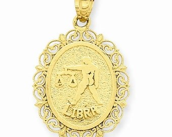 14K Solid Yellow Gold Libra Zodiac Horoscope Oval Pendant Charm LKQC2849