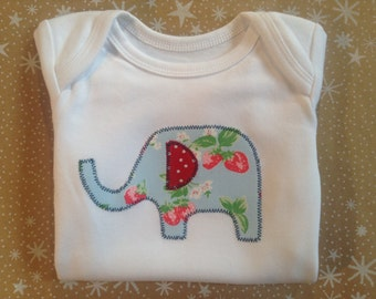 Elephant Baby Bodysuit - Hand Appliquéd Personalised Baby Bodysuit Onesie - Cath Kidston Strawberries Elephant