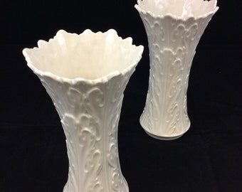 """Pair of Lenox Collectable Woodland 8 1/2"""" tall Vases in Ivory"""