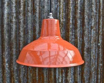 Retro factory styled dusky orange ceiling light hanging pendant lampshade ofssr4
