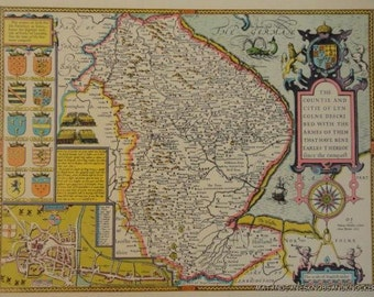 Old copy of John Speed map of Lincolnshire, Lincoln town plan