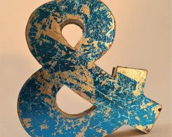 Fantastic retro vintage style blue ampersand metal shop sign