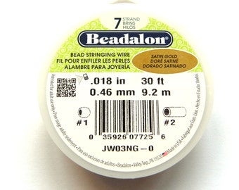 "1x 9.2m Beadalon 7 Strand Bead Stringing Wire 0.46mm (.018"") - Satin Gold"