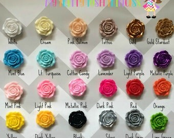 42mm Chunky Acrylic rose Flower Pendant Beads for Chunky Necklaces *choose color