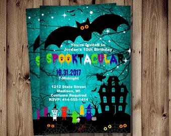 Halloween birthday Invitation kids spooky Halloween Birthday invitation scary spooktacular printable blue printable boy or girl spooktacular