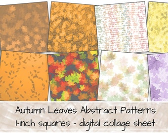 Autumn Fall Leaves Stylised Patterns 1-inch squares 0273