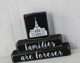LDS Stacking Temple Blocks Set of 3 Custom Temple Salt Lake Temple Anniversary Date Wedding Date Gift Wedding Blocks