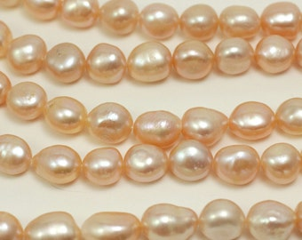 Natural Peach Baroque 10 - 13mm Pearls, Freshwater Cultured Pearl Beads, nice shape, smooth, great lustre, 16 inch strand, #7240