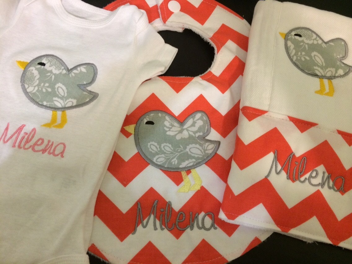 Personalized Baby shower gift set coral and gray chevron