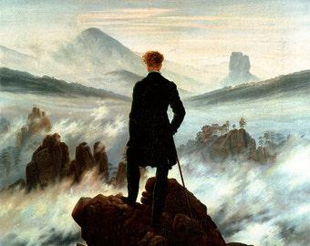 Caspar David Friedrich: The Wanderer Above the Sea of Fog. Fine Art Print/Poster (00261)